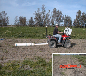 Two EM instruments are housed inside a PVC casing and towed behind an ATV with GPS system.