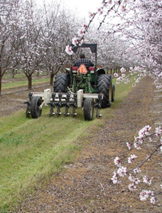 VERIS instrument being towed through an almond orchard.