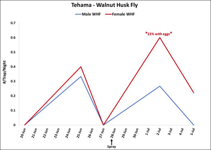 2018 Walnut Husk Fly Trap Data - Tehama Co. Walnut