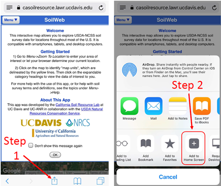 """iPhone: Left screenshot: Select the """"Share, Print, and More"""" up-arrow button. Right Screenshot: Scroll to the right and select the """"Add to Home Screen"""" button to create an app-like shortcut."""