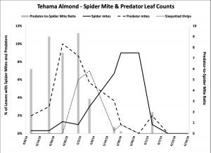 2019 Spider mite & Predator Leaf Count Data - Tehama Co. Almond
