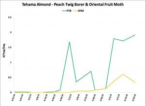 2019 PTB & OFM Trap Data - Tehama Co. Almond