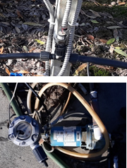 Figure 5. Pressure transducer on irrigation line (top) and flow meter on injection pump (bottom).