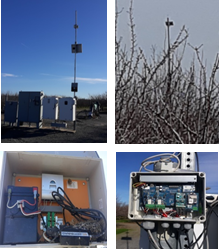 Figure 7. Parts of a telemetry system. Cell tower and gateway next to pump controls (top left), gateway connection to internet (bottom left), orchard cell tower connected to sensors in the field (top right); and node connection to field sensors (bottom right).