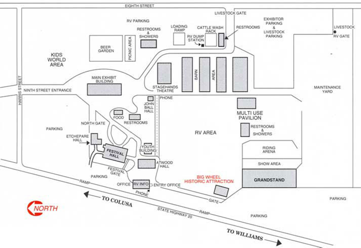 Location of the Stagehands Theatre inside the Colusa Fair Grounds, site of the 2018 Colusa/Sutter/Yuba Almond Growers Meeting on Wednesday, February 7. Registration is at 9 AM.